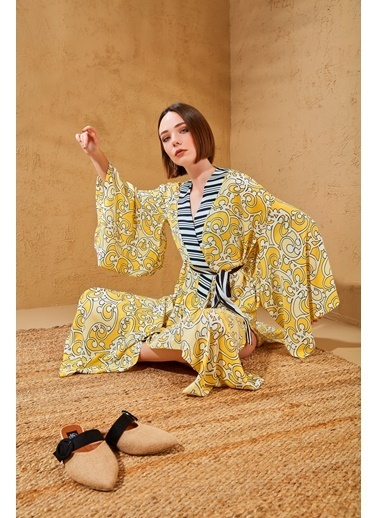 Women&Women Desenli Tasarım Japon Kimono Sarı